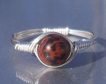 25% Off Sale Mahogany Obsidian Argentium Sterling Silver Wire Wrapped Ring