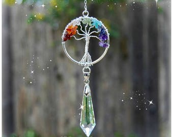 Gemstone Tree of Life Chakra Crystal Suncatcher, Rearview Mirror Car Charm, Window Prism, Wall Hanging, Sun Catcher Decoration