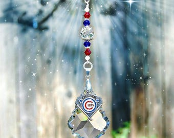 Chicago Cubs Decoration, Crystal Suncatcher, MLB Rearview Mirror Car Charm, Window Prism, Other Teams Available