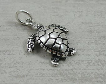 Sea Turtle Charm - Sterling Silver Sea Turtle Charm for Necklace or Bracelet