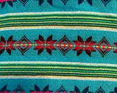 Ethnic Mexican Colorful Blue Cambaya Woven Fabric Yard Tribal Mexican Fabric