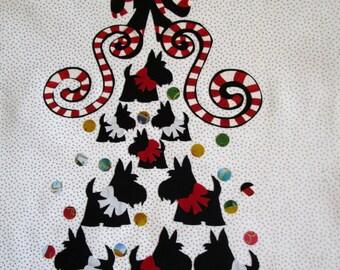 """Scottie Love Tree Fabric Quilt Block 14"""""""