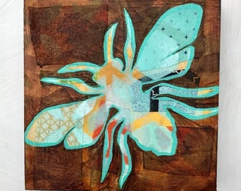 Bee mixed media original painting