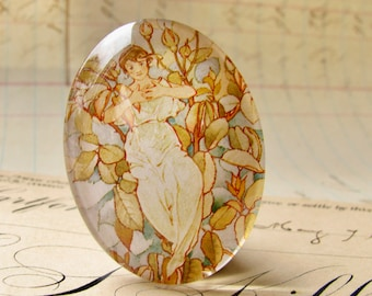 """Oval glass cabochon, orange, pastel """"Dream Roses"""" 40x30mm 30x40mm, handmade in this shop, woman sitting in flowers, Art Nouveau collection"""