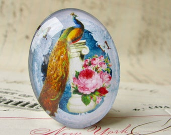 Elegant Peacock, Beautiful Birds collection, blue, pink roses, glass oval cabochon, handmade cabochon in this shop, 40x30mm or 25x18mm