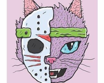 Jason Voorhees the 13th Cat Art Print