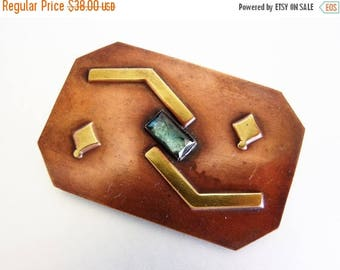 ON SALE Pretty Vintage Large Copper Brass & Glass Brooch