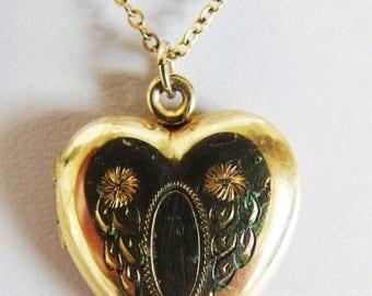 ON SALE Vintage 12K Gf Heart Locket Necklace