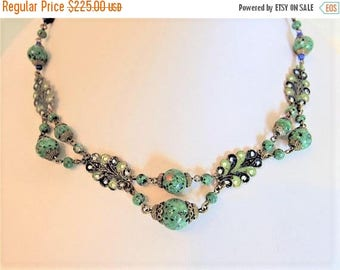 ON SALE Vintage 1930's Art Deco Czech Glass & Enamel Necklace