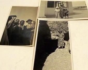 Black and white photographs family Egypt falcon travel tomb