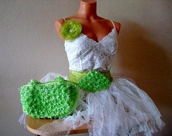 Lime green wedding set, Green Bridal set Bag, Belt and Hair Flower, Bride&Flower girl sash belts