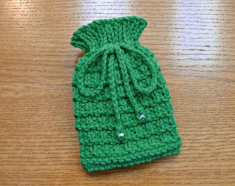Small Drawstring Pouch, Small Drawstring Bag, Small Knitted Pouch, St Patricks Day Emerald Green, Gift Bag