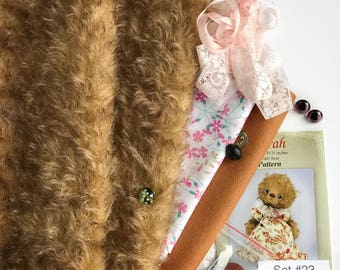 German mohair fabric, glass eyes, cotton batiste fabric liberty of london tana lawn, silk ribbon french lace, teddy bear pattern, set #23