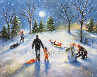 Family Snow Sledding Art Print, sledding children paintings, three children snow, playing in snow, snowman, three kids snow, Vickie Wade art