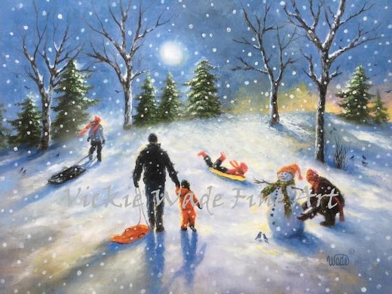 Family Snow Sledding Art Print Sledding Children Paintings