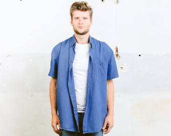 Men's LINEN Shirt . Men's 1990s Button Down Blue Linen Shirt 90s Natural Flax Top Summer Shirt Beach Shirt Boyfriend Gift. size Large