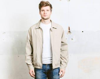 Beige Bomber Jacket . Vintage 90s Zip Up Mens Urban Jacket Casual Bomber Jacket 90s Spring Jacket Outerwear . size Medium