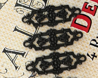 4 Neo Victorian Connectors, Black Noir, Mourning Connectors, Victorian Connectors, Matte Black Findings, William Morris Design, USA #B186K