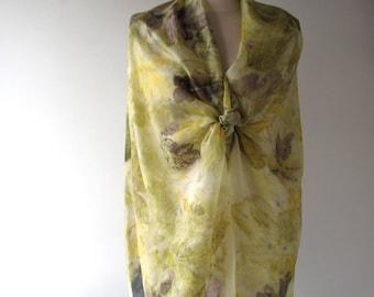 Silk scarf Grey yellow scarf ecoprint plant print scarf yellow silk scarf women Leaf pattern botanical print Eco dye silk scarf handpainted