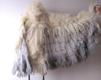 Winged shawl Wings scarf  Felted scarf,  costume wings, Nuno felted scarf, White owl wings felt wings feather  women felt collar by Galafilc