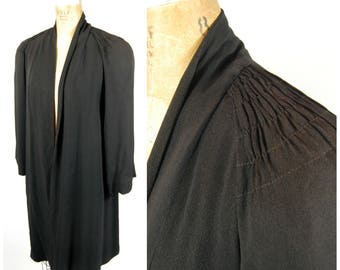 1940s Black Crepe Jacket - Smocked Shoulders // Large Shoulder Pads // Lightweight Jacket / Spring Coat - Mid 40s Dramatic Joan Crawford
