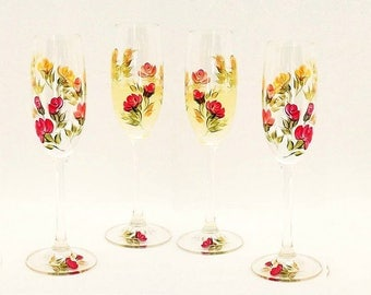 Set of 4 Hand-Painted Roses CRYSTAL Glasses Stemware - Colorful Red Orange Peach Roses, Choice of Stemware - Martini Glasses