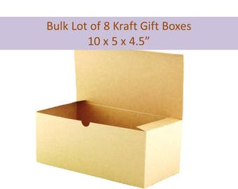 """Kraft Gift Boxes, Bulk Lot of 8 Boxes 10"""" x 5"""" x 4"""" for Wedding Party Gifts, Party Favors, Socks, Glassware Gift Box"""