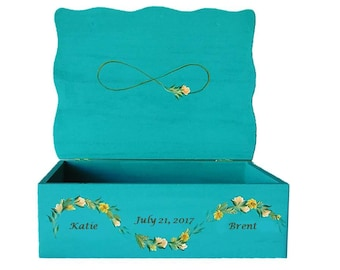 Custom Boho Wedding Card Box - Hand-Painted Rustic Infinity Sign, Wildflower Garland, Roses, Sage - Wedding Keepsake Box