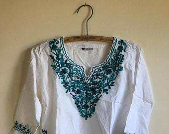 SUMMER SALE Kids Cotton Mexican Vintage White Tunic • Embroidered Age 6 to 7 Tunic