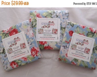 Fabric 25% off SALE SIMPLY CHIC 3 Charm Packs Retro red roses cherries Benartex sewing quilting fabric Anna Stuart 5 in squares