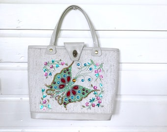 Vintage Butterfly Tote / Jeweled Purse / 1960s novelty Purse