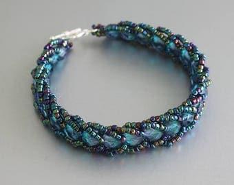 SALE 50% OFF, Flat Spiral Stitch Beaded Bracelet - Weaved Bracelet - Seed Beads Bracelet - Blue Beaded Bracelet - Boho Bracelet