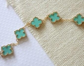 Turquoise Blue Flower Bracelet - Multi Motif Bracelet - Quatrefoil Bracelet - Four Leaf Flower Bracelet - Dainty Bracelet - Everyday Jewelry
