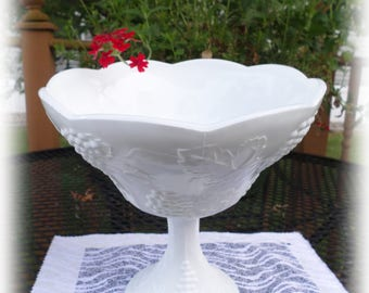 Vintage Indiana Harvest Grape Milk Glass Grape Leaf Pattern Bowl on Stem