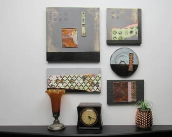"""Abstract wall art gallery - """"Artifacts and Circles"""" - a 5 pc collection - wall decor"""