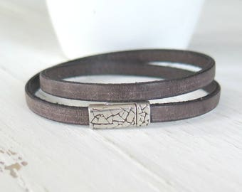 Rustic Brown Double Leather Wrap Bracelet / Boho Chic Bracelet / Brown Leather Cuff / Urban Hipster / Everyday Leather Cuff / Ready to Ship