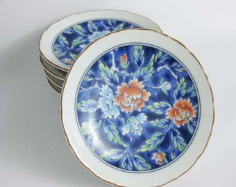 Japanese Footed Sushi Sauce Dipping Dishes Bowls Cobalt Orange Blue Flowers (5)