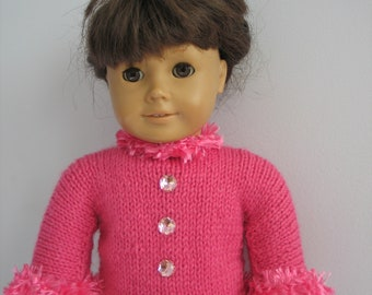 "Hand-knitted Fushia Top for American Girl and all 18"" Dolls"