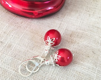 Christmas Earrings, Christmas Ornament Earrings, Bright Red Christmas Earrings, Holiday Earrings, Christmas Gift, Festive Jewelry