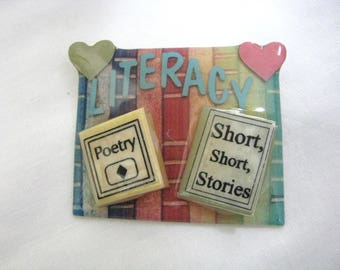 Colorful  Vintage Book Pin Literacy by Lucinda
