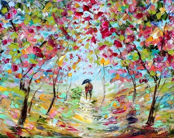 Love Story of Spring painting in oil landscape palette knife impressionism on canvas 16x20 fine art by Karen Tarlton