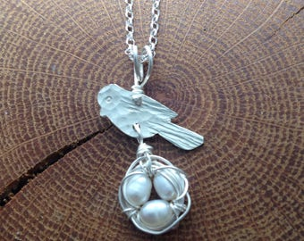 Freshwater Pearl Bird's Nest Necklace/ New Mother Necklace