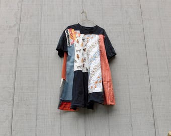 Little Black Dress, Upcycled Tunic, Cat, Mixed Media Art, Collage, Flower, Patchwork Shirt, Wearable Art Tshirt, Fun Clothes, Tshirt dress