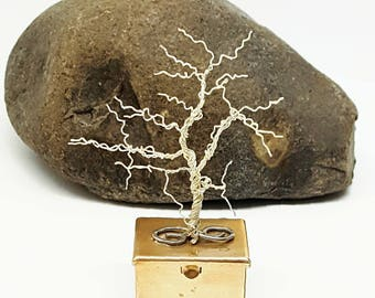 Glow in the Dark Winter Tree Pill Box\ Wire Tree Sculpture\ Silver Copper Tree\ Tooth Fairy Box Wire Tree\ Wire Bonsai Tree\ Gifts for Her