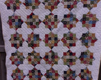 BIRTHDAY SALE - Calico Stars Twin Size Patchwork Traditional Quilt