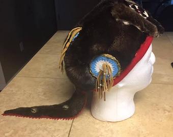 Native American made otter fur hat beadwork brain tan leather