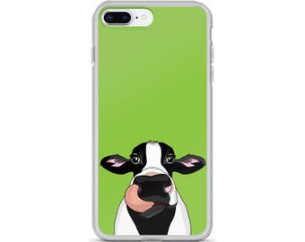 Cow iPhone Case - Farm Animal Lover - Gift for Her, Kids - Milk Cow iPhone Case - Black and White Cow Case - Personalized iPhone Case