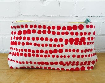 Tomato Red Hilary make-up bag, Ready To Ship Now