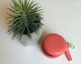 Corall Macaron coin purse made of leather