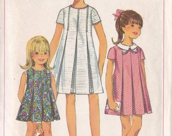 Girls Inverted Pleated Dress Pattern Simplicity 7035  Size 6 ~ High Rounded Neckline ~ Collar ~ Short Sleeves ~ 1967  ~ Cut But Complete